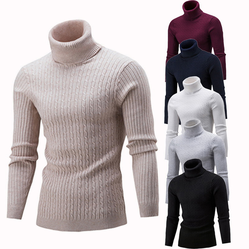 WENYUJH Men's Warm Turtleneck Sweater Hombre Fashion Solid Knitted Mens Sweaters Casual Slim Pullover Male Double Collar Top