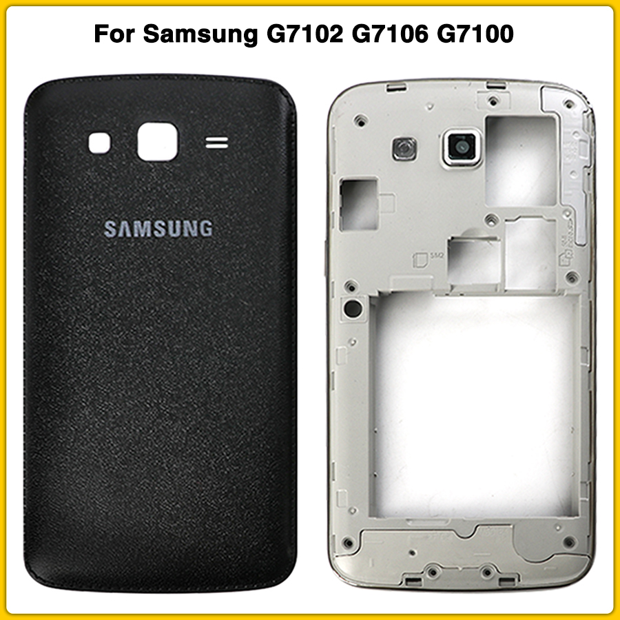 New Full Housing Case For Samsung Galaxy Grand 2 II G7102 G7106 G7100 Battery Back Cover Door Rear Cover Middle Frame Plate image