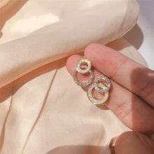 2021 Korean Simple Double Circle Gold Color Metal Rhinestone Drop Earrings For Women Fashion Small Pendientes Jewelry Gifts