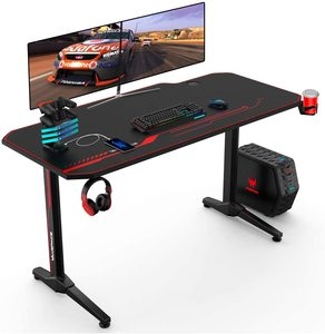 55x23 Inch Ergonomic Gaming Desk E-sports Computer Table PC Desk Gamer Tables Workstation with USB Gaming Handle Rack&Mouse Pad