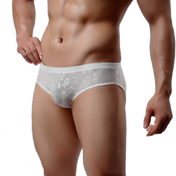Sexy Men's Thin Underwear Lace Transparent Breathable Underpants Low-rise Pouch Bulge Shorts Bottoms - discount item  3% OFF Men's Underwears
