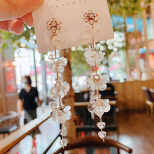 MENGJIQIAO-boucles d'oreilles longues en forme de pampilles en acrylique pour femmes et filles, style coréen, élégant, fait à la main, bijou