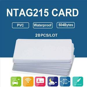 20Pcs NFC Cards White Blank NTAG215 PVC Tags Waterpoof 504Bytes Chip Sticker