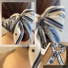 Длинные волосы банты шарф головной платок бант волосы аксессуары мода шейный платок повязки на голову принт сумка шарфы для женщин бандана шарф