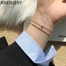 ANENJERY Moon Star Imitationn Pearl Charms bransoletka 925 srebro Gradient Moonstone bransoletka z cyrkoniami dla kobiet S-B304