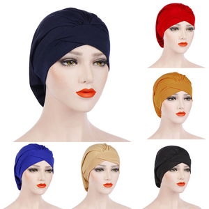 Fashion Muslim Hijab Headscarf Inner Hijab Caps Women Soft Cross Headband Islamic Turban Hat Headwrap Women Muslim Turban Hijab