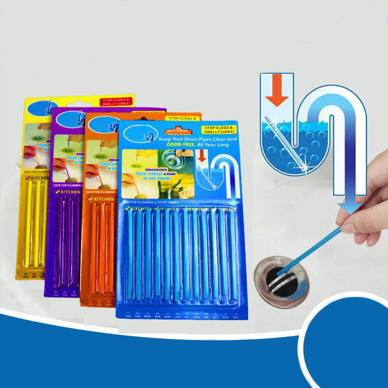 12pcs/set  Oil Decontamination Kitchen Toilet Bathtub Drain Cleaneer V Spot Clean Sewer Cleaning Rod Pipe Cleaner