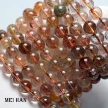 Wholesale (approx 38 beads/lot/56g) 10 10.8mm amazing natural Brazil copper rutilated quartz bracelet european beads stone