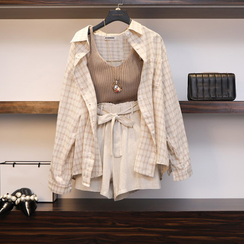 Summer Spring Women' Suit 3 Piece Set Plaid Blouses Tank Tops Elastic Waist Belt Outfit 2020 Wide Leg Long Sleeve Woman Suits