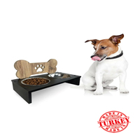 Stainless steel real wood double dog pet food feeder bowl ergonomic will food 12 cm diameter
