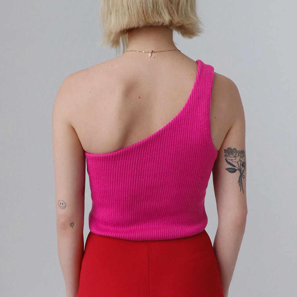 נשים אחת כתף יבול חולצות ללא שרוולים גופייה קיץ חוף בטן חשופה אפוד קיץ Kniting האופנה Camis # YJ