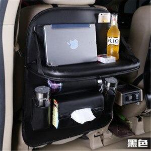 Image 3 - 50*65CM 자동차 뒷좌석 보관 가방 주최자 멀티 포켓 테이블 트레이 패드 전화 컵 티슈 음료 우산 홀더 박스 접이식 선반