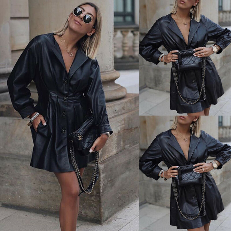 Women Lady Long Sleeve Slim Blazer Suit Leather Coat Work Jacket Formal Suit