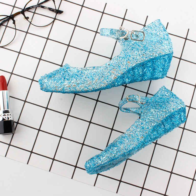 Crianças meninas Sandálias de Cristal Verão Congelado Princesa Geléia Alta-salto alto Sapatos de Menina Congelado Princesa Queen Dress Up Partido Facny sandália