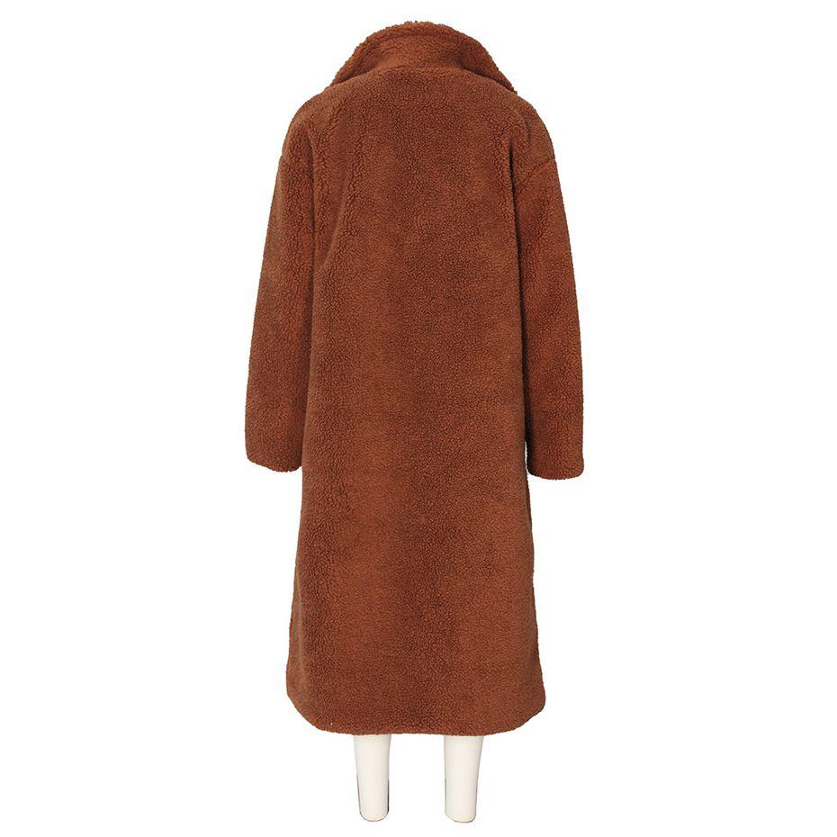 HAOYUAN Teddy Coat femmes décontracté lâche en peluche Long ours en peluche pardessus Oversize polaire épais vêtements d'extérieur chauds fausse fourrure vestes - 6