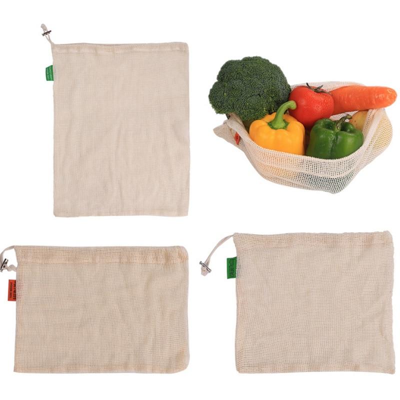 Repeatable Fruit And Vegetable Natural Cotton Mesh Bag Drawstring Bundle Pocket Green Shopping Washable Kitchen Storage Net Bags