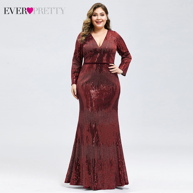 Plus Size Sequined Evening Dresses Ever Pretty Mermaid Deep V-Neck Long Sleeve Sexy Sparkle Evening Gowns Abiye Gece Elbisesi 3