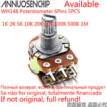 5pcs B1K B2K B5K B10K B20K B50K B100K B500K B1M 6 Pinos Eixo Potenciômetro WH148 20 10 5 2 1K K K K K K 100K 500K 1 50 M