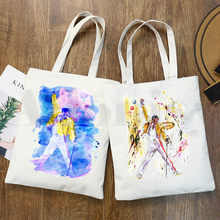 Freddie mercury rainha banda gráfico rock hip hop impressão dos desenhos animados sacos de compras meninas moda casual pacakge mão saco