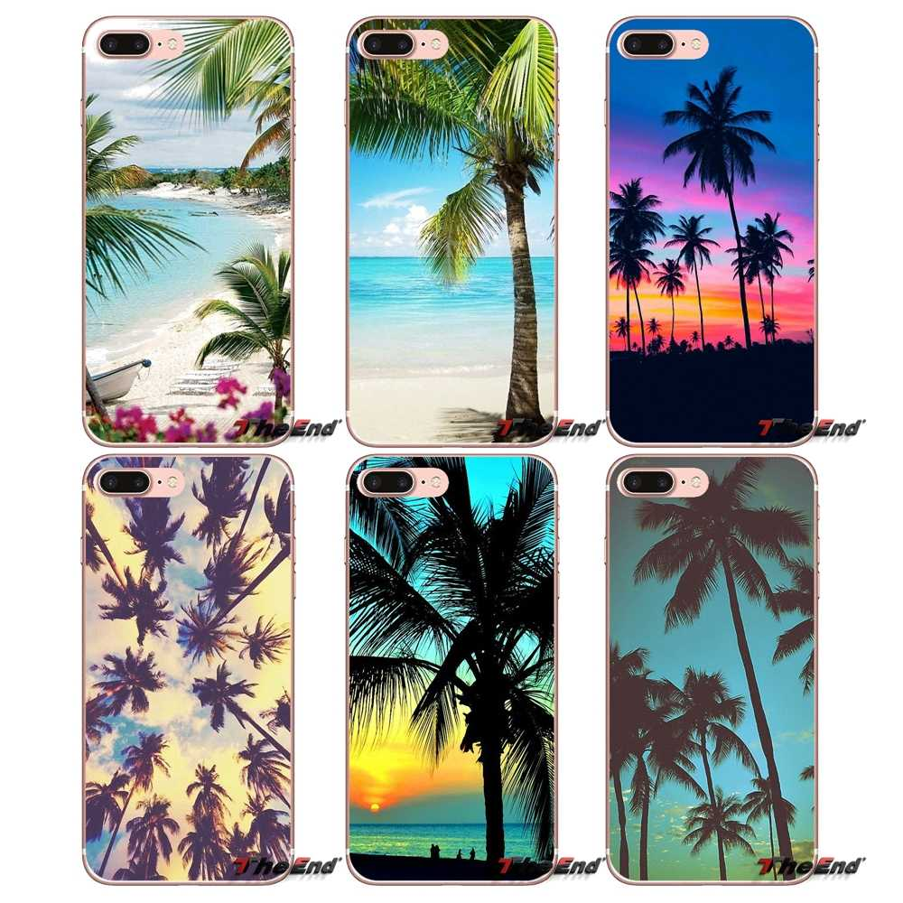 Tropical Beach palmeras hojas árboles soporte funda para Apple iPhone X 4 4S 5 5S SE 5C 6 6 S 7 8 Plus 6 Plus 7 7 8 plus Fundas Coque