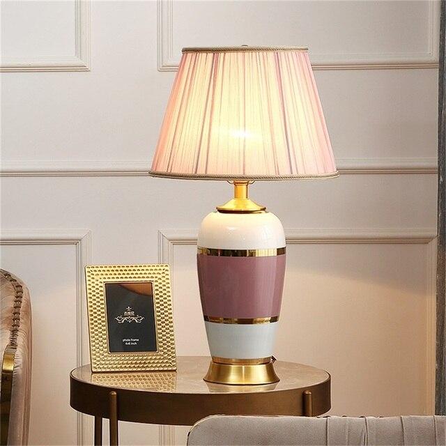 Фото керамические настольные лампы oufula розовый медный настольный