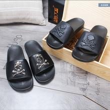 PVC Skull Leather Slippers Men's Wear Flip-flops Beach Shoes Tide Slippers Sandals Men's Sandals Outdoor Shoes Flat Shoes