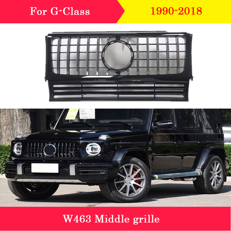 ABS plastic front grille GT vertical bar Car styling Middle grille for Mercedes-Benz G-Class G63 W463 G500 G55 G350d AMG