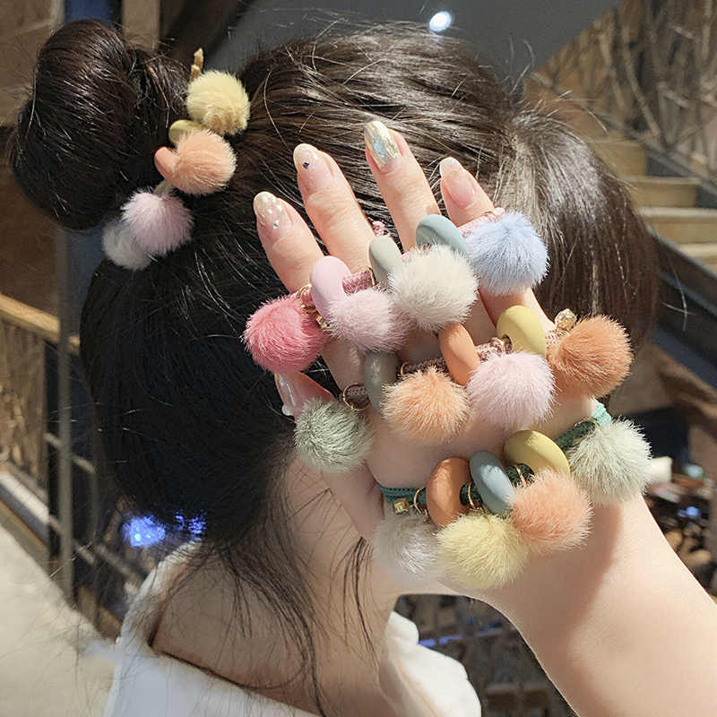 New Simple Hair Rope Hair Band Cute Hairball Hair Ring High