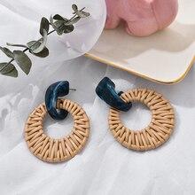 2019 Fashion Handmade Round Rattan Pendant Drop Earrings For Ethnic Women Acrylic Hanging Straw Weave Knit Vine