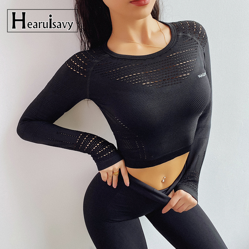 Women Gym Seamless Long Sleeve Crop Top Yoga Shirts With Thumb Hole Running Fitness Workout Top Shirts Female Casual Sweatshirt