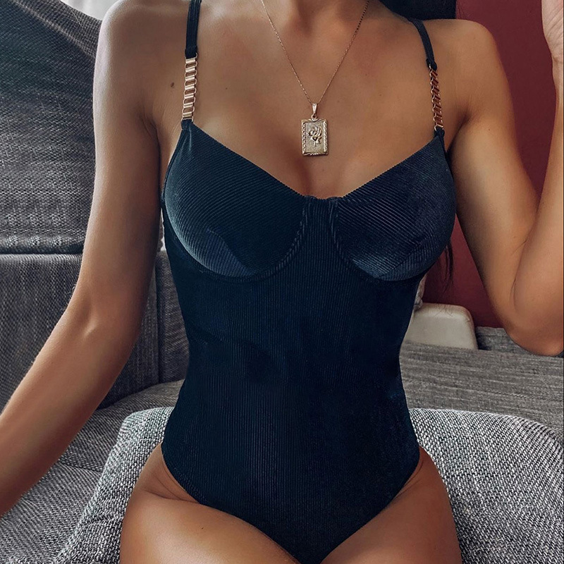 Sytiz Corduroy Sexy Bodysuit Summer Fashion Women Sleeveless V-Neck Patchwork Slim Bodysuit Backless Party Cotton Clothes New