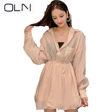 OLN dress Korean style vestidos new wholesale autumn port wind thin sunscreen suit lace shirt + elastic waist shorts
