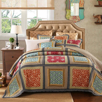 3pcs Bed cover High end handwork Bedspread Splicing Bedding set Colour cotton Quilt Quilting Blanket Bed cover Pillow cases