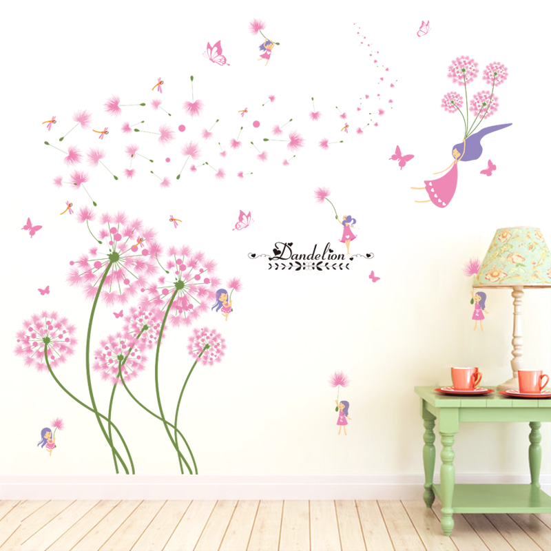 [shijuekongjian] Pink Color Dandelion Wall Sticker DIY Romantic Flower Home Decor Sticker for Kids Rooms Living Room Decoration