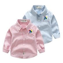 Kids Shirt Spring Children Clothes Long-Sleeves Boys Pure-Cotton Autumn Striped BINIDUCKLING