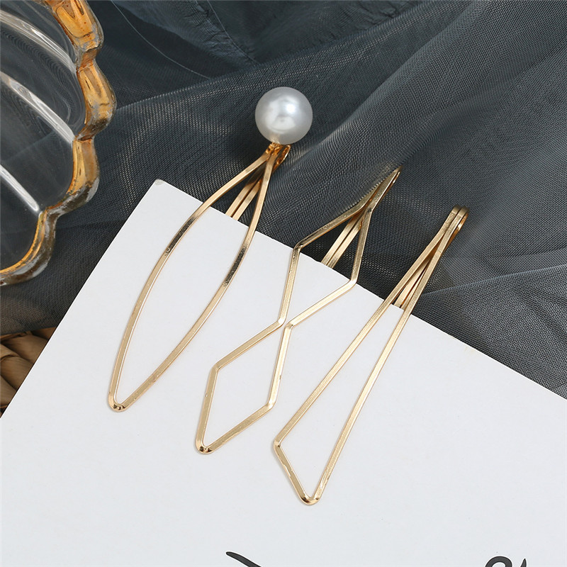 HOCOLE 3 Pcs/Set Pearl Metal Gold Color Hair Clips For Women Bobby Pin Barrette Hairpins Girls Styling Accessories Jewelry