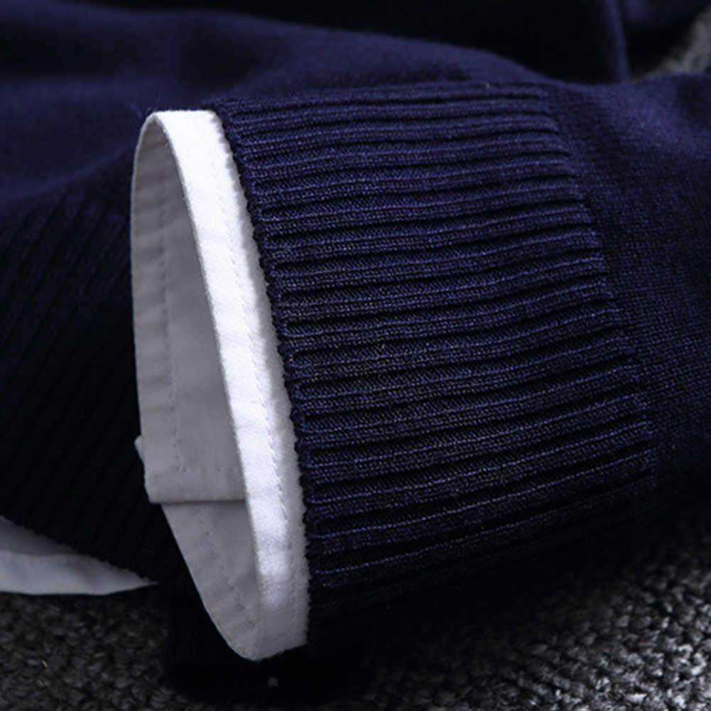 뜨거운 패션 중국 크기 블록 패치 워크 오 넥 긴 소매 니트 탑 블라우스 폴리 에스터 스 판 덱 스 캐주얼 따뜻한 남자 스웨터
