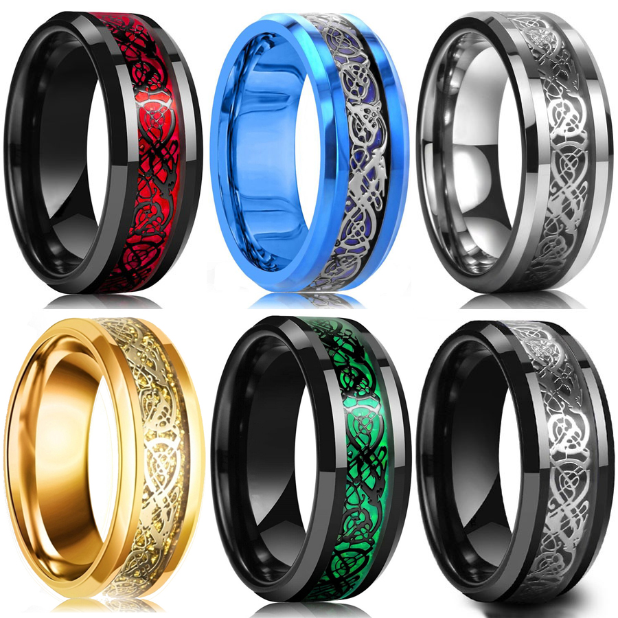 10 Colors 8mm Men's Stainless Steel Celtic Dragon Ring Inlay Red Green Black Carbon Fiber Ring Wedding Band Jewelry Size 6-13