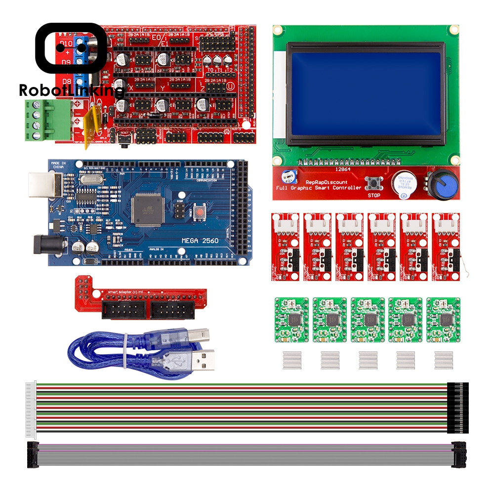 CNC 3D Printer Kit for Arduino Mega 2560 R3 + RAMPS 1.4 Controller + LCD 12864 + 6 Limit Switch Endstop + 5 A4988 Stepper Driver image