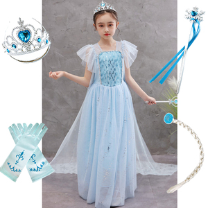Платье принцессы Эльзы для девочек, маскарадный костюм Снежной Королевы 2, костюм Эльзы с блестками, детская одежда на карнавал, день рожден...