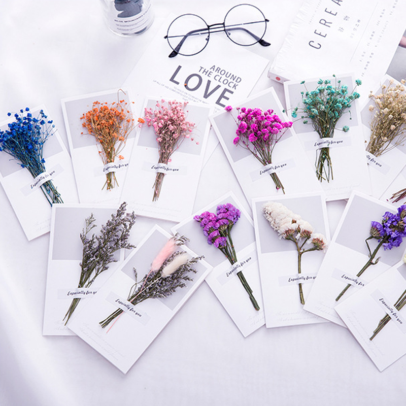 10pcs A Gift Card Wedding Invitations Greeting Cards Gypsophila Dried Flowers Handwritten Blessing Birthday Thank You Envelope
