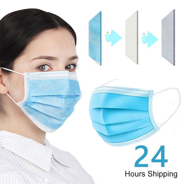 IN STOCK FAST SHIP Face Mouth Anti Dust Mask 100Pcs One time MASK  Disposable Elastic Mouth Soft Breathable Face Mask 1