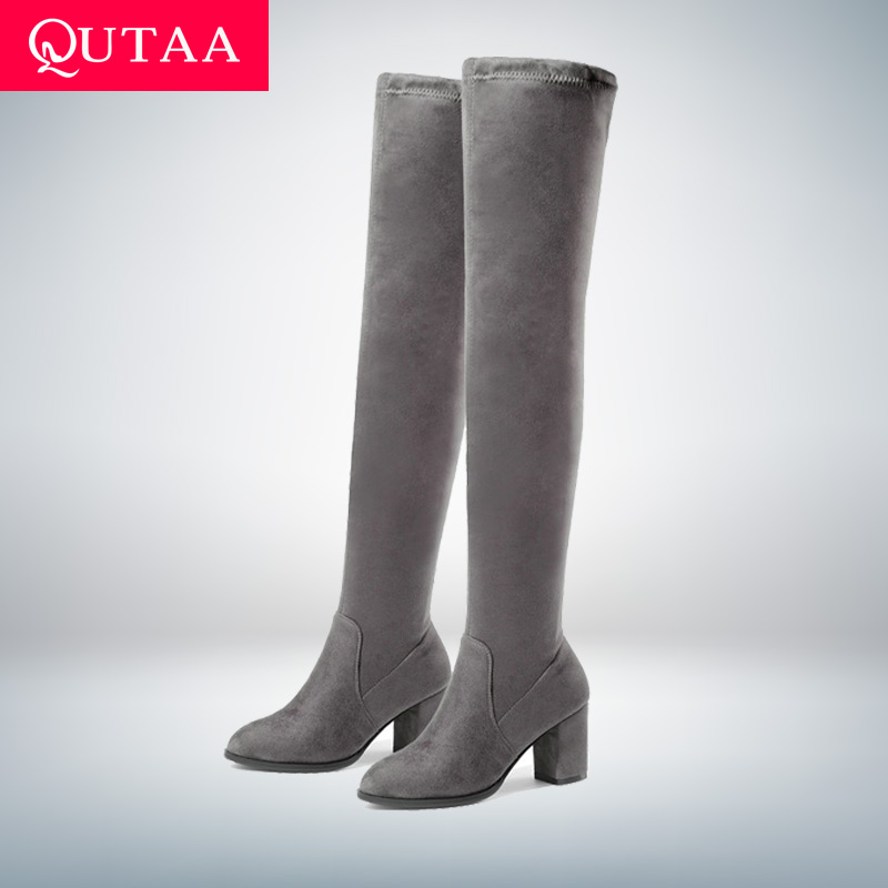 QUTAA 2020 Women Over The Knee High Boots Square High Heel Women Shoes Platform Winter All