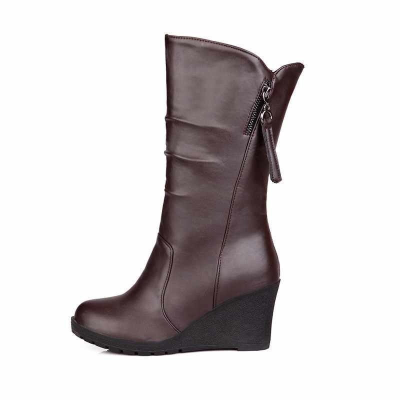 בתוספת גודל חדש נשים חורף מגפי בוהן עגול רוכסן טריזי Chaussures Femme חום נוח עור מפוצל נעלי Zapatillas Mujer
