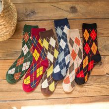 Women's Winter Rhombus Stitching Color Knitted Socks Floor Socks Stockings Autumn winter fox wolf warm cotton socks Y12.18(China)