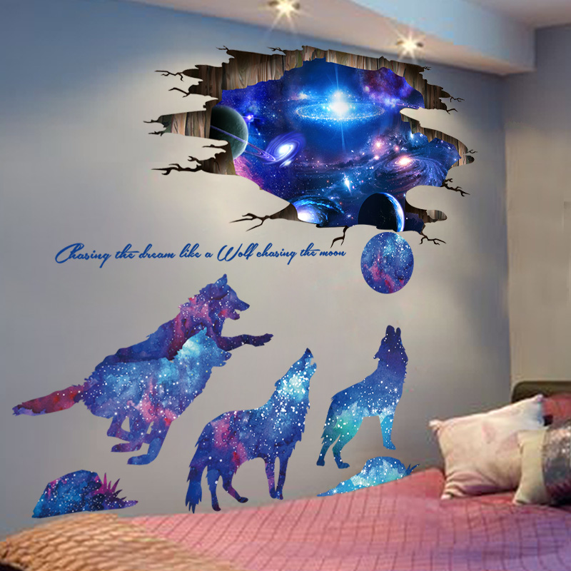 Universe Galaxy Wall Stickers Vinyl Diy Moon Wolves Mural Decals For Kids Rooms Baby Bedroom Decoration Aliexpress