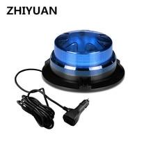 LED Rotating Flashing Strobe Light Blue Emergency Fire Truck Warning Lamp 9-24V Indicator Magnetic Signal Beacon Lights For Car