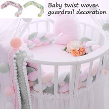 1M Baby Bumper Bed Braid Knot Pillow Cushion Bumper for Infant Bebe Crib Protector Cot Bumper Kids Room Decor