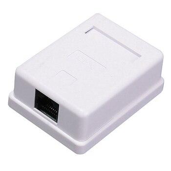 Módulo de información de Cable de extensión blanco de empalme RJ45, caja de conector de red de escritorio Ethernet de un solo puerto, sin blindar