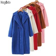 Nagodo Women teddy coat Plus size white Camel chaqueta mujer Vinatge faux fur Loose Lamb Fur Jacket for winter Autumn